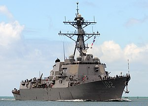 US Navy 100731-N-6854D-111 The Arleigh Burke-class guided-missile destroyer USS Sampson (DDG 102) returns to Joint Base Pearl Harbor-Hickam after participating in Rim of the Pacific (RIMPAC) 2010 exercises.jpg