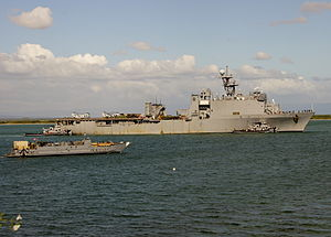 US Navy 111213-N-IQ128-049 USS Oak Hill arrives at Naval Station Guantanamo Bay, Cuba.jpg
