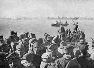 Serbian army's retreat through Albania - Exhausted Serbian troops reaching the Adriatic coast.