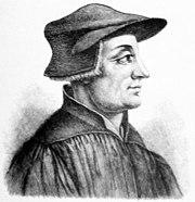 Ulrich Zwingli, wearing the scholar's cap.