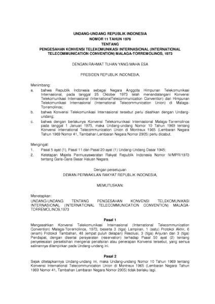 File:Undang-Undang Republik Indonesia Nomor 11 Tahun 1976.djvu