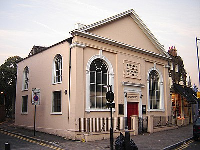 Newington Green Unitarian Church, London, England. Built in 1708, this is the oldest non-conformist church in London still in use as a church. (October 2005) Unitarian chapel newington green.jpg