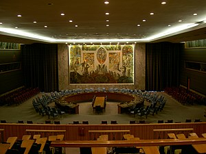Security studies -  The United Nations Security Council Chamber in New York, also known as the Norwegian Room