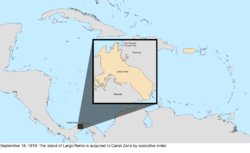 Map of the change to the United States in the Caribbean Sea on September 18, 1919, to November 15, 1923