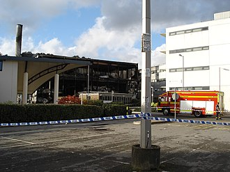 School of Electronics and Computer Science, University of Southampton - Photograph showing the fire damage done to the Mountbatten Building in 2005.