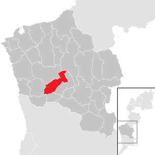 Location of the municipality of Unterwart in the Oberwart district (clickable map)