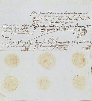 Protestant Union - Document establishing the Protestant Union signed 14 May, 1608, now in Bavarian State Archive (Bayerische Hauptstaatsarchiv)
