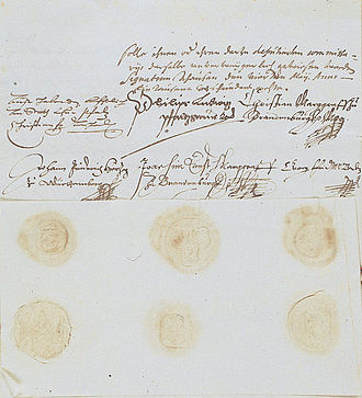 Joachim Ernst, Margrave of Brandenburg-Ansbach -  Charter of association of the Protestant Union in Auhausen on 14 May 1608 (now in the Bavarian State Archives): the signature of Margrave Joachim Ernst of Brandenburg is in the center