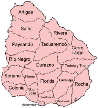 Departments of Uruguay - Map of the departments of Uruguay.