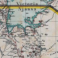 Les limites du domaine colonial allemand sur le Lac Victoria.