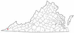 Location of Dryden, Virginia