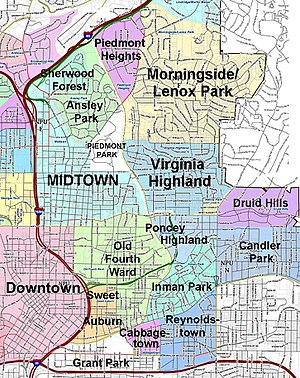 Virginia Highland location relative to downtown Atlanta