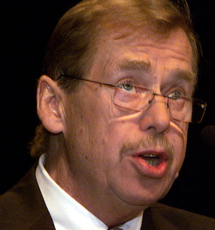Vaclav Havel, impresario of civil resistance in the years leading up to the 1989 Velvet Revolution. In April 1991, as President of post-Communist Czechoslovakia, he praised the NATO military alliance; and on 12 March 1999 the Czech Republic (with Havel still as President) joined the alliance. He is seen here on 26 September 2000. Photo: IMF Vaclav Havel IMF.jpg
