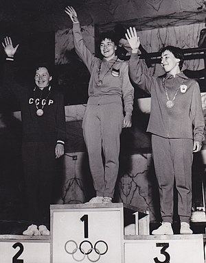 Heidi Schmid - Heidi Schmid (center) at the 1960 Olympics