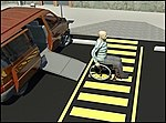 Example of a van accessible parking aisle for wheelchair users