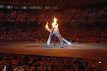 Photographie de la flamme olympique