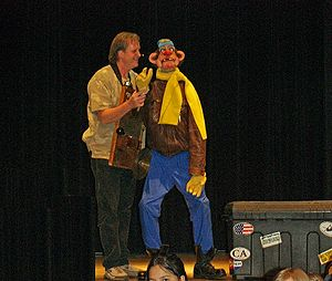 Ventriloquism - A ventriloquist entertaining children at the Pueblo, Colorado, Buell Children's Museum