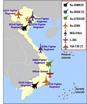 Vietnam Air Force Regiments map