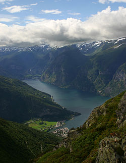 View of the Aurlandsfjord, Aurlandsvangen and Flam from below the Prest Summit.jpg