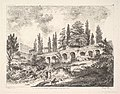 View of the entrance to Tivoli and the walls of the Villa d'Este, horsemen approaching the entrance at bottom center, arched entrance in the middleground, cyrus trees and other plants surrounding MET DP829065.jpg