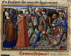 Représentation de la révolte des Cabochiens, issue de l ouvrage   Vigiles de Charles VII  , XVème siècle.