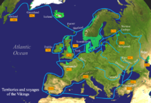 Shows extent of Norse Exploration and raids during Viking Age across Europe, North Africa, Asia and the Americas.