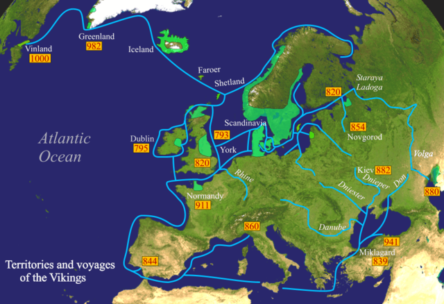 Viking expeditions (blue line): depicting the immense breadth of their voyages through most of Europe, the Mediterranean Sea, Northern Africa, Asia Minor, the Arctic, and North America. Lower Normandy, depicted as a ''Viking territory in 911'', was not part of the lands granted by the king of the Franks to Rollo in 911, but Upper Normandy. Vikings-Voyages.png