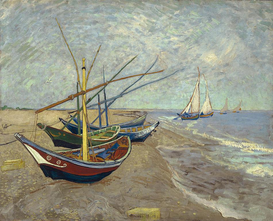 Barca da pesca al Santa Maria del dipinto Mare, Van Gogh (1888).