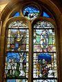 Vineuil-Saint-Firmin (60), église Saint-Firmin, verrière n° 3 - agonie au Gethsémani, Vierge Marie allaitant, saint Louis, saint Sébastien, saint Léger.JPG