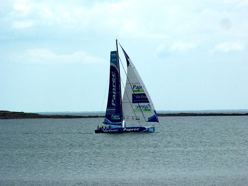 The boat Virbac Paprec 3 manoeuvring in the Passe de l'ouest between Lorient and Groix on 21 July 2011.