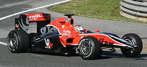 Virgin VR-01 - Timo Glock driving the VR-01, minus its front wing, during pre-season testing at Circuito de Jerez in February 2010.