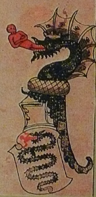 Virginal (poem) - Coat of arms of the Visconti of Milan depicting the biscione, a serpent who appears to be swallowing a human