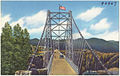 Vista of the suspension bridge spanning the Royal Gorge, 1053 ft. above the Arkansas River, Canon City, Colorado (7725171914).jpg