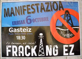 Hydraulic fracturing - Poster against hydraulic fracturing in Vitoria-Gasteiz (Spain, 2012)