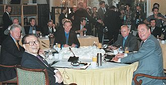 Permanent members of the United Nations Security Council - Leaders of the five permanent member states at a summit in 2000. Clockwise from front left: Chinese President Jiang Zemin, U.S. President Bill Clinton, UK Prime Minister Tony Blair, Russian President Vladimir Putin, and French President Jacques Chirac.