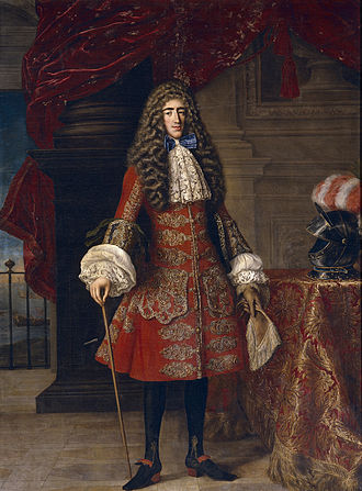 Justacorps - Luis Francisco de la Cerda (later Duke of Medinacelli) in a red justacorps with horizontal pockets and lavish decoration