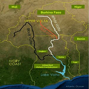 Volta River - Image: Volta river black white red descriptions and surrounding countries
