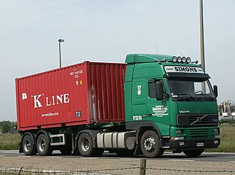 K Line - K Line container on the road in Belgium