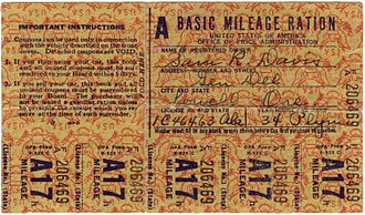 Office of Price Administration - Image: WWII USA Basic Mileage Ration (front)