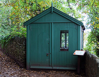Dylan Thomas Boathouse - A reconstruction of the writing shed used by Dylan Thomas, close to The Boathouse, overlooking the estuary of the River Taf. Photo: Tony French