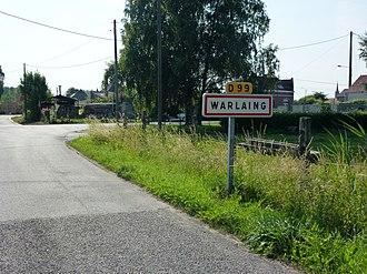 Warlaing - Image: Warlaing (Nord, Fr) city limit sign