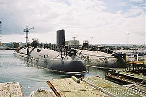 HMS Conqueror (S48) - HMS ''Warspite'' (left) and HMS Conqueror (centre) with HMS ''Valiant'' (at rear) at HMNB Devonport Navy Days, 26 August 2006.