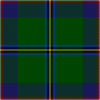 "A green square cut into equal quarters by yellow, black, and blue ""stitched"" lines. Red and white stitches outline the entire square, and patches of blue and green fill the inner quadrants."