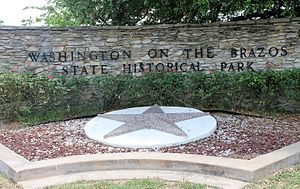 Washington-on-the-Brazos, Texas - Washington-on-the-Brazos State Historical Park sign
