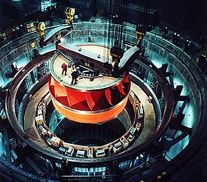 Water turbine - A Francis turbine runner, rated at nearly one million hp (750 MW), being installed at the Grand Coulee Dam, United States.