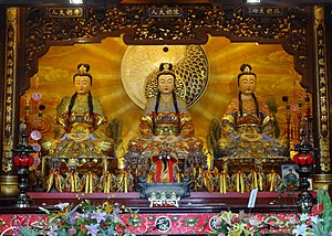 Chinese ritual mastery traditions - The Waterside Dame and her two attendants Lin Jiuniang and Li Sanniang, at the Temple of Heavenly Harmony of the Lushan school in Luodong, Yilan, Taiwan.