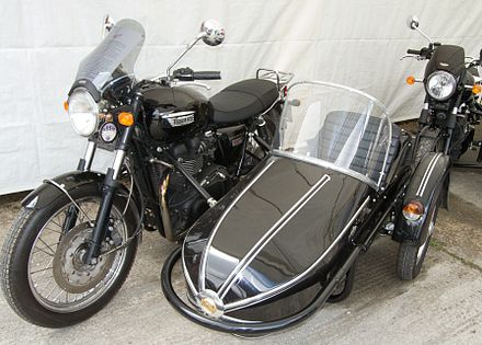 Modern Triumph motorcycle with Watsonian sidecar Watsonian sidecar with triumph combination.jpg