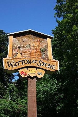Watton-at-Stone - Image: Watton at Stone Village Sign