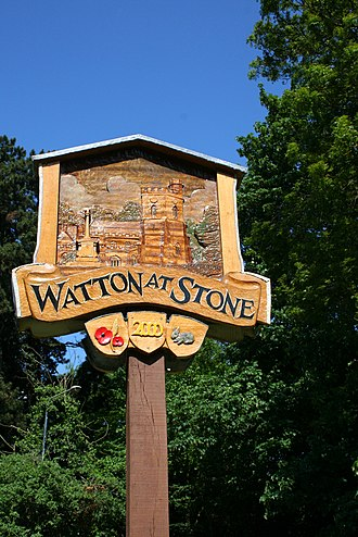 Watton-at-Stone - Image: Watton at Stone Village Sign