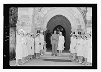 Wedding at St. George's Cathedral on June 3, 1942. Bride & groom coming out of church with 'Guard of Honor' of nurses LOC matpc.12420.jpg